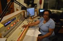 Theresa Adams at the controls
