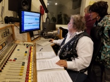 Darlene at the controls with Ms. M and Sharon Peterson