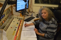 Sharon Peterson at the controls