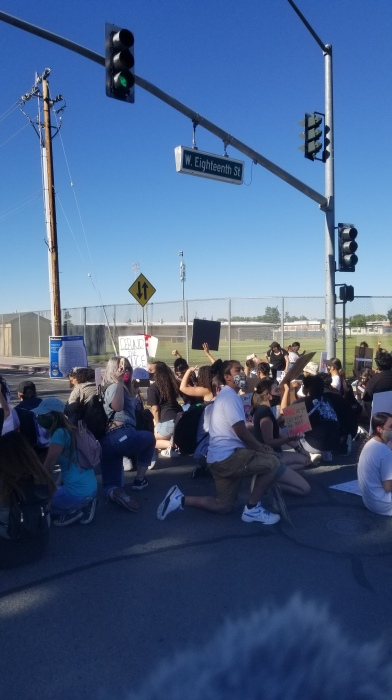 Youth Protesters blocking the intersection near their High School