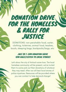 Antioch Donation drive for the homeless and rally for Justice